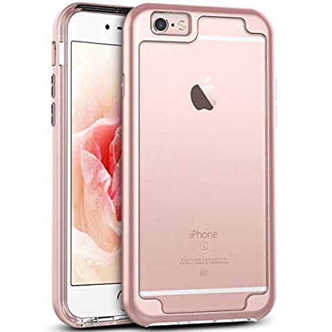 iPhone 6 Case, iPhone 6S Clear Cover, GrandEver Soft Silicone Clear Case + Plastic Protective Frame iPhone 6/6S Rose Gold Shock Absorption Bumper [Drop Protection] Soft TPU Clear Back Cover Rubber Gel Skin Cell Phone Cases Covers for Apple iPhone 6/iPhone 6S