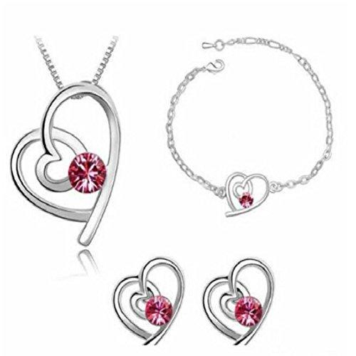 Gespout Collier Cristal Rouge Bijoux Ensemble Alliage Cadeau d'anniversaire Pendentif Party Collier + Boucles d'oreilles + Bracel
