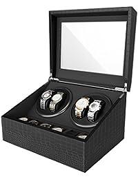 CRITIRON Luxury 4+6 Automatic Watch Winder Luxury PU Leather Display Box Storage Case Black