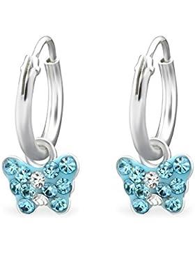*925 Silber Kinder kleine Ohrringe Creole Ohrschmuck Schmetterling Kristal blau*