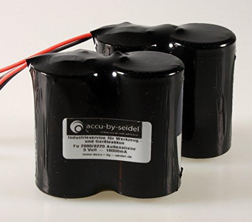 Set ABUS Security-Center Ersatzbatterie für 2WAY-Funk-Außensirene FU2986 für Secvest FU8220 FU8222 FUSG50000 Funkaußensirene