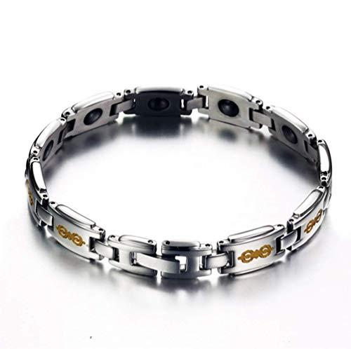L&H Paar Titanium Stahl Armband Religiöse Sechs-Wort Mantra Gesundheit Magnet Armband Reduziert Arthritis Und Karpaltunnel Schmerzen Bei Männern Und Frauen,Female