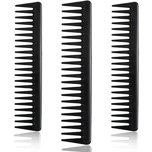 3 Piezas de Peine de Dientes Anchos de Carbono Negro Peine de Peluquero de Desenredado Peine de Peinado para Pelo Mojado Largo
