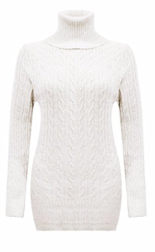 Ladies Chunky Cable Knit col roulé Mini Jumper Dress EUR Taille 36-42 Blanc