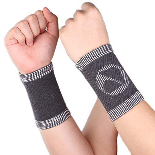 1 Paar Bambuskohle-Handgelenk-Hülsen-Stützband-Klammer-Verband-Athlet Sports Basketball-Schutz - graue Handgelenk-Bänder Armbänder (Color : Dark Grey, Size : S) -