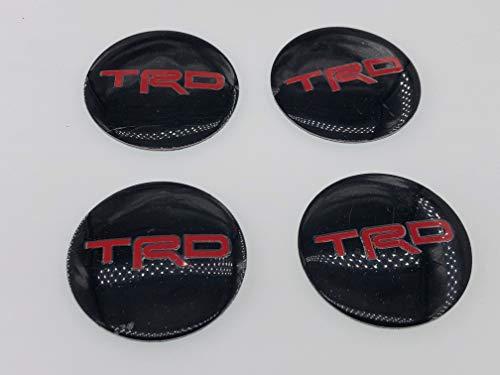 Hanway Set of 4 TRD Wheel Center Cap Resin Decal/Sticker 56mm Black Red JDM Toyota - Toyota Trd Decals