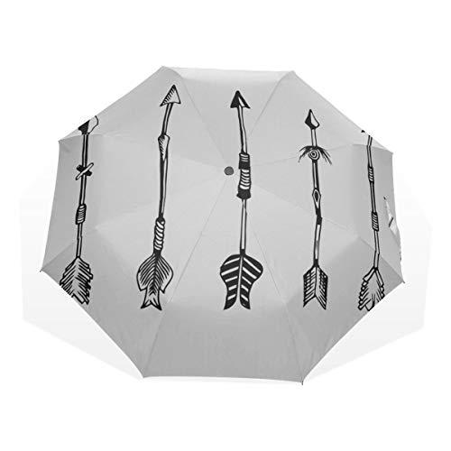 Reiseregenschirm Traditionelle Jagdwaffe Anti Uv Compact 3-Fach Kunst Leichte Faltschirme (Außendruck) Winddicht Regen Sonnenschutzschirme Für Frauen Mädchen Kinder (Pfadfinder-kunst)