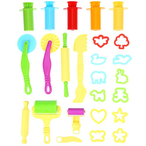 TOYMYTOY Intelligent pasta tool kit with 5pcs Extrusion tools for Children 20PCS (random color)