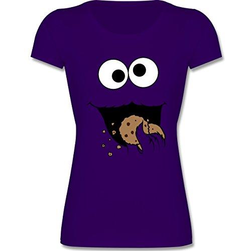 Karneval & Fasching Kinder - Keks-Monster - 116 (5-6 Jahre) - Lila - F288K - Mädchen T-Shirt (Lila Monster-kostüm)