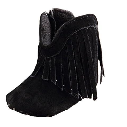 Chaussures Bébé Clode® fille chaussures tout-petit bébé bébé bottes à semelle souple pré Walker panicule (12 ~ 18 Mois, noir)