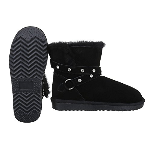 Ital-Design Komfort Stiefeletten Damen Leder Schuhe Schlupfstiefel Warm Gefütterte Stiefeletten Schwarz