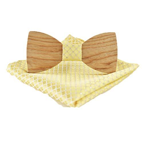 BILAIYASA Weihnachtsgeschenk Hochzeit Holz Fliege Mit Set Krawatten FüR MäNner Diy Design Herren Einstecktuch Holz Krawatte K Gold Cummerbund-set