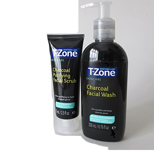 Newtons Labs T-Zone anthrazit Gesichtspflege Ultra reinigen Wash 200 ml und anthrazit Purifying Facial Scrub (75 ml) Duo Pack -