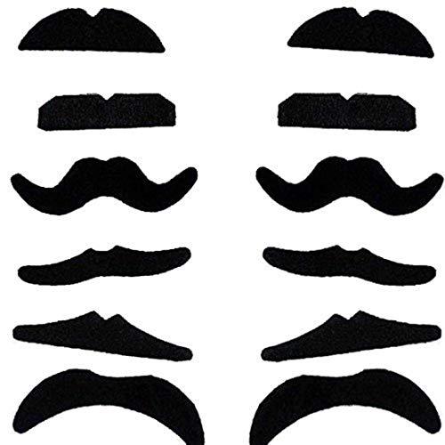Cdet Efälschte Schnurrbärte Set Schwarz Schnurrbärte Requisiten Klebe-Bärte selbstklebend Falsche Schnurrbärte Beardtypes Dressing Beards für Karneval Kostüm Party, 12 Pcs (Und Perücke Schnurrbart-party)