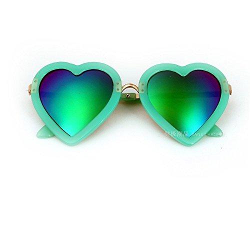 MinegRong Kinder Sonnenbrille Mädchen Bunte herzförmige Sonnenbrille Kinder Cute Fashion Spiegel Flut Kinder UV-Proof Gläser, grüne Quecksilber
