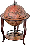 Stilemo Globus bar im Antikdesign - Globusbar in edlem rotbraun - geöffnete Hausbar antik 115 cm hoch - 61 cm Durchmesser - für eine Stilvolle Whiskey Aufbewahrung