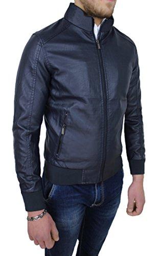 Giubbotto giacca uomo blu scuro ecopelle casual giubbino bomber slim fit (xxxl)