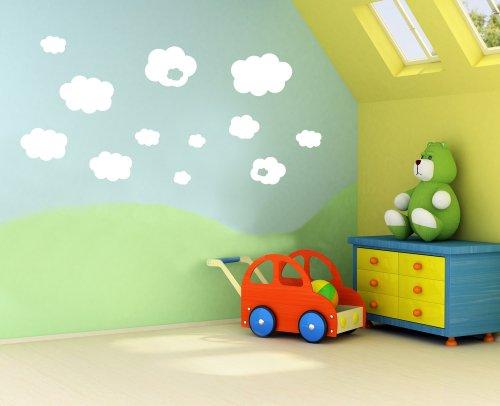 a29-concetto di vinile, Nuvole, Bambini, nursery per bambini, adesivi da parete, rimovibile, facile da rimuovere, adesivi da parete per bambini,, arte murale, decorazione adesiva Deco, White, Large (Set of 15) - Nursery Wallpaper Murales