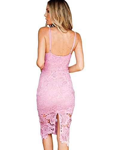 Minetom Vintage Donna Pizzo Vestito Slim Scollo a V Senza Maniche Abiti Da Sera Cocktail Party Bodycon Dress Pink