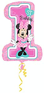 "Amscan International-3435201""Minnie Mouse 1st cumpleaños Super forma globo en forma de"""