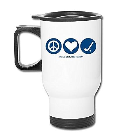 Peace Love Field Hockey Aluminum White Travel Mug, 12 Ounces