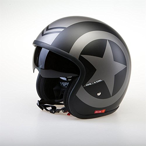VIPER RS-V06 STAR Moto Casco Jet Scooter Touring Casco Moto donna e uomo (L)