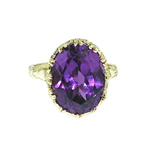 9ct Yellow Gold Ladies Large Amethyst Ring - Size T - Free Delivery - Finger Sizes L to Z Available