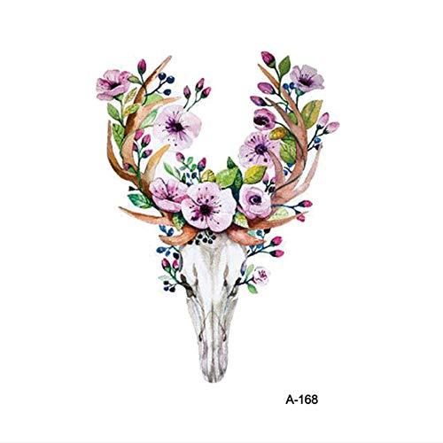 ruofengpuzi Ziege Schädel Gefälschte Tattoo Aufkleber Weibliche Temporäre Blume Arm Tattoo Aufkleber Männer Body Art Tattoo