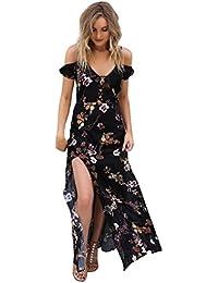 Robe femme,LHWY Femmes d'été Bohème robe de plage longue fête maxi soirée robe