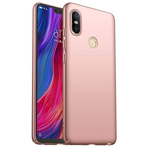 HUUH Funda Xiaomi Redmi Note 6/Xiaomi Redmi Note 6 Pro Elegante y Simple Caja de teléfono ultradelgada de Lujo Anti-Huella Digital refleja Perfectamente la Belleza del Color sólido(Rosado)