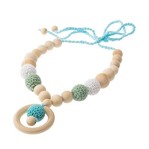 Image of Stillkette aus Holz - Ein ideales Geschenk zur Geburt & eine wunderschöne Hilfe beim Stillen! Verschiedene Farben (türkis)