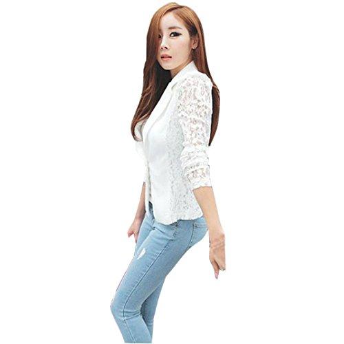 Kanpola Frauen Jacken Spitze Häkelarbeit Blazer kleiner Blazer lange Hülse (4XL, Weiß)