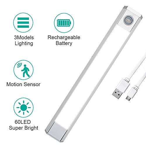 Vidence Luce Led con Sensore-Luce LED Sensore Movimento con Striscia Magnetica Adesiva ,Ricaricabile con 60 LED,3 cambi di colore,3 modalità di Luce per Armadio, Scale, Corridoi, Cucina, G