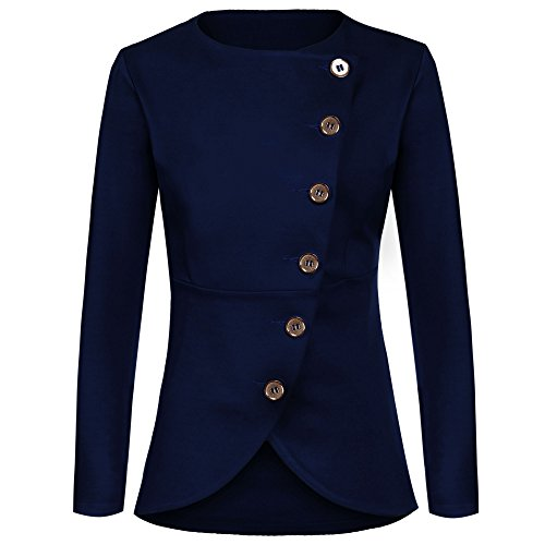 Meaneor Damen Knopf Business Jacke Blazer Übergangsjacke Military Jacke Slim Fit Mantel Reverskragen Asymmetrisch , Dunkelblau , EU 36(Herstellergröße: S) - Damen Business-kleidung