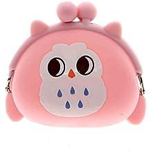 VANKER Portátil de Kawaii Owl silicona moneda del caso en forma de cerrojo del caramelo del monedero de la bolsa del bolso (Color: Rosa)