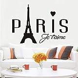 Lkfqjd Cursos De Paris Love Wall Stickers Extraíbles Paris Romantic Love Eiffel Tower Vinyl Wall Stickers Para Niños Habitaciones Pegatinas En Casa59 * 41 Cm