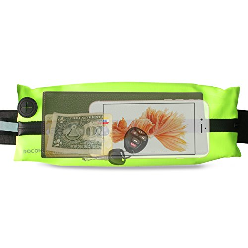 rocontrip Running Tasche Taille Pack, wasserdicht Fitness Gürtel mit Öffnung für Kopfhörer und eine Tasche für alle Handys (11,9
