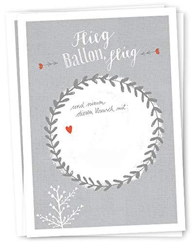 50 Ballonflugkarten - Flieg BALLON, flieg! | für Hochzeit, Geburtstag, Taufe, Kommunion u.v.m. | Partyspiel mit Ballonkarten | grau weißes Design | extra leicht, 170 g Recyclingpapier, CO2 neutral
