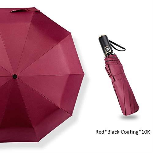 LZBDKM Männer Business Luxury Travel Umbrella Corporation Automatisch Offen Winddicht Anti-UV Regenschirm Frauen Männlich 10 Karat SonnenschirmRot