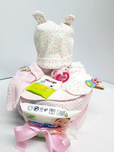 XXL Windeltorte Mädchen Geschenk Set Taufe oder Geburt Rosa Pünktchen Babyshower