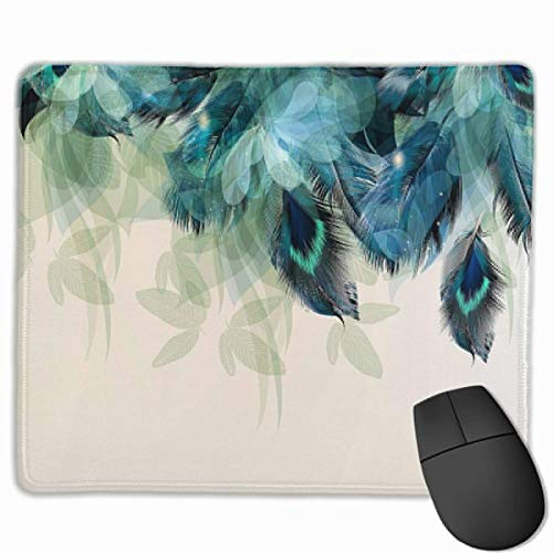 Mouse Mat Peacock Feather Non-Slip Rubber Mouse Pad for Desktops, Computer, PC and Laptops 9.8 X 11.8 inch (25x30cm) -