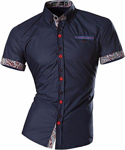 Jeansian uomo camicie manica corta moda men shirts slim fit casual fashion z026 navy xl
