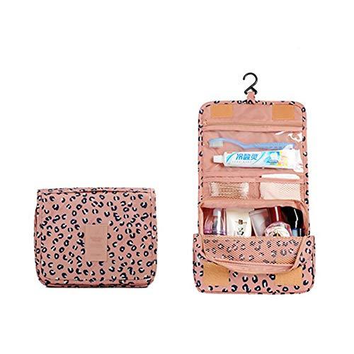 Neceser multifunción para cosméticos, bolsa de maquillaje portátil, bolsa de viaje impermeable organizador para mujeres y niñas estilo leopardo