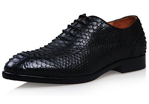 ELANROMAN - Scarpe Basse Stringate uomo , nero (Black), (Scarpe Snakeskin Mens)