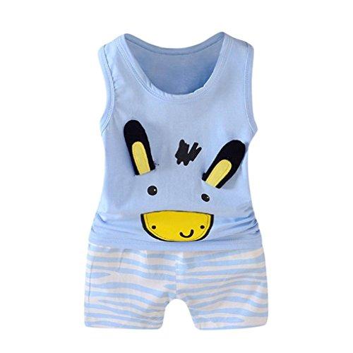 QinMM 2 Stücke Kleinkind Baby Mädchen Jungen Cartoon Weste Tops T-Shirt Shorts Outfits Set Disney Kleidung Set Drucken Baby Kühlen Grün Blau 12 Mt-3 T (3T, Blau)