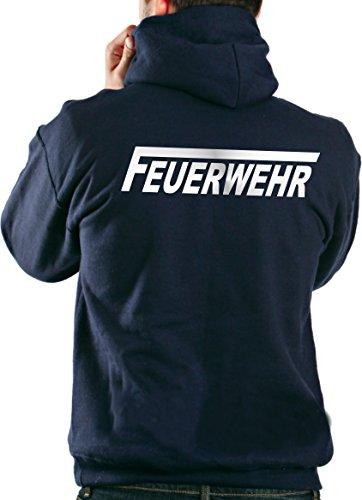Kapuzensweater FEUERWEHR in navy mit silber reflektierendem beidseitigem Schriftzug mit langem