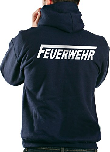 feuerwehr sweatshirt Kapuzensweater FEUERWEHR in navy mit silber reflektierendem beidseitigem Schriftzug mit langem