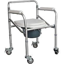 QIAN Polea de aluminio bacinica silla de baño ancianos silla de ruedas plegable silla multifunción higiénico