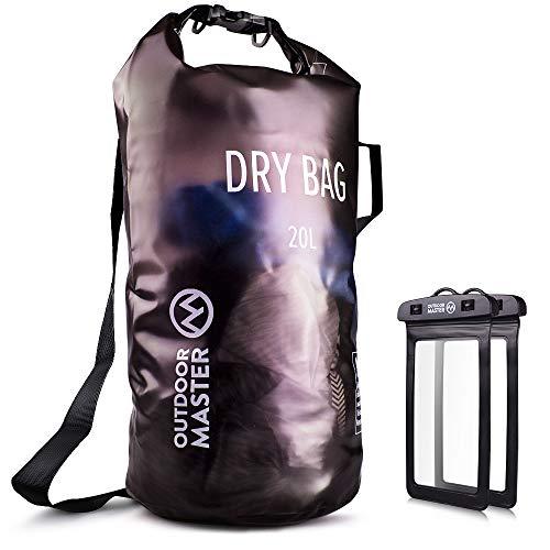 OutdoorMaster Dry Bag- 5L/10L/20L Stylisher Leichter Trockensack mit 2 freie wasserdichte Handybeutel- wasserdichte Tasche für Schwimmen, Bootfahren, Angeln & Snowboarden(10L) -
