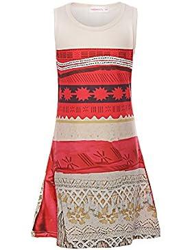 ReliBeauty Mädchen Kleid Prinzessin Vaiana Digitaldruck Muster Armlos Rundausschnitt Moana Kostüme